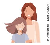mother and daughter smiling... | Shutterstock .eps vector #1205292004