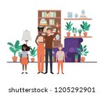 family in living room with... | Shutterstock .eps vector #1205292901
