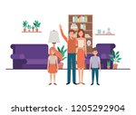 family in living room with... | Shutterstock .eps vector #1205292904