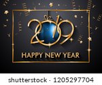 2019 happy new year background... | Shutterstock .eps vector #1205297704