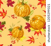 seamless pattern of autumn... | Shutterstock .eps vector #1205299321