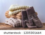 winter  autumn clothes  knitted ... | Shutterstock . vector #1205301664