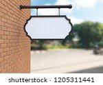 blank white signboard. 3d... | Shutterstock . vector #1205311441