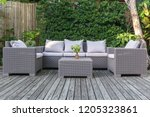 large terrace patio with rattan ... | Shutterstock . vector #1205323861