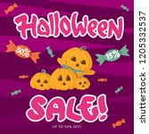 sale banner for halloween with... | Shutterstock .eps vector #1205332537