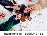 group of friends   three... | Shutterstock . vector #1205341411