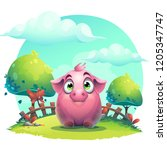 vector cartoon big pig on a on... | Shutterstock .eps vector #1205347747