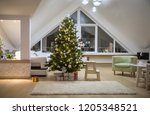 festively decorated home... | Shutterstock . vector #1205348521
