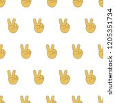 peace hand emoji seamless... | Shutterstock .eps vector #1205351734