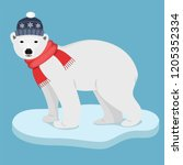 icebear with red scarf and blue ... | Shutterstock .eps vector #1205352334
