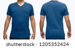 blue blank v neck t shirt on... | Shutterstock . vector #1205352424