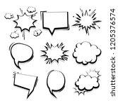 big set hand drawn monochrome... | Shutterstock .eps vector #1205376574