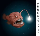 anglerfish mouth on dark... | Shutterstock . vector #1205379721