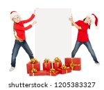 christmas children with... | Shutterstock . vector #1205383327
