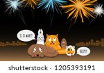 animals afraid of loud bangs... | Shutterstock .eps vector #1205393191