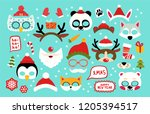 collection of winter animal... | Shutterstock .eps vector #1205394517