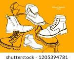 isolated vector set of women's... | Shutterstock .eps vector #1205394781
