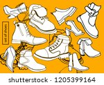 isolated vector set of women's... | Shutterstock .eps vector #1205399164