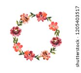 watercolor wreath with flowers... | Shutterstock . vector #1205403517