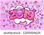 pig is a symbol of 2019 new... | Shutterstock .eps vector #1205404624