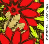 seamless floral background.... | Shutterstock .eps vector #1205407021