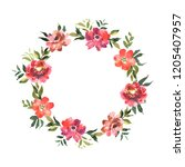 watercolor wreath with flowers... | Shutterstock . vector #1205407957