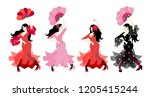spanish girls in colorful long... | Shutterstock .eps vector #1205415244