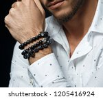 mens beaded bracelet. | Shutterstock . vector #1205416924
