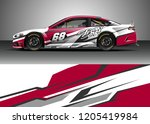 racing car wrap design vector.... | Shutterstock .eps vector #1205419984