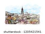 building view with landmark of... | Shutterstock .eps vector #1205421541