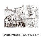 building view with landmark of... | Shutterstock .eps vector #1205421574