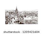 building view with landmark of... | Shutterstock .eps vector #1205421604