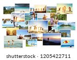 collage of tropical photos with ... | Shutterstock . vector #1205422711
