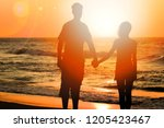 happy couple on nature in the... | Shutterstock . vector #1205423467