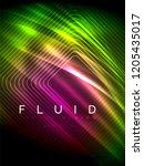 neon glowing wave  magic energy ... | Shutterstock .eps vector #1205435017