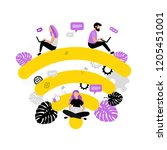 wi fi. people with laptops in... | Shutterstock .eps vector #1205451001