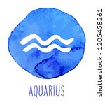 aquarius hand drawn zodiac sign.... | Shutterstock .eps vector #1205458261