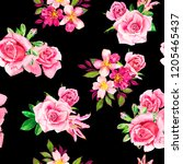 Stock photo watercolor roses on black background seamless pattern pink floral textile 1205465437