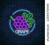 neon glowing sign of grape with ... | Shutterstock .eps vector #1205470444