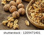 walnuts on rustic natural...   Shutterstock . vector #1205471401