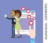 couple on social networks   Shutterstock .eps vector #1205484391
