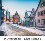 amazing winter in old town of... | Shutterstock . vector #1205488651