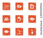 chemistry the threat icons set. ... | Shutterstock .eps vector #1205493934