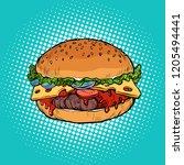 burger  fast food restaurant.... | Shutterstock .eps vector #1205494441