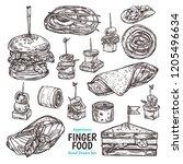 vector set of sketch finger... | Shutterstock .eps vector #1205496634