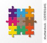 nine sided puzzle presentation... | Shutterstock .eps vector #1205501641