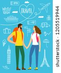 a pair of travelers with a... | Shutterstock .eps vector #1205519944