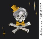 crystal skull and crossbones... | Shutterstock .eps vector #1205523757
