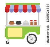 street stall with food pots ... | Shutterstock .eps vector #1205526934