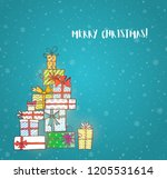 pile of gift boxes. christmas... | Shutterstock .eps vector #1205531614